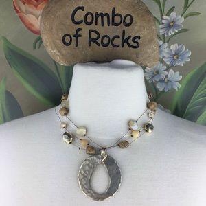 FREE Chico's Boho 3 Strand Stone Pendant Necklace
